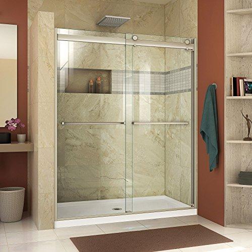 DreamLine Essence-H 44-48 in. W x 76 in. H Semi-Frameless Bypass Shower Door in Brushed Nickel, SHDR-634876H-04