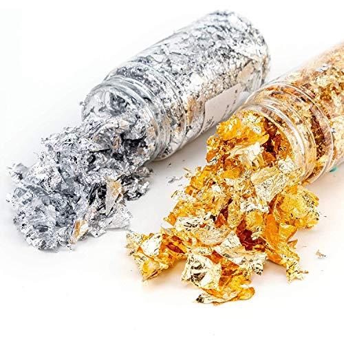 2 Botellas Copos de Papel de Alumini, Copos de Oro para Resina, Copos de Papel de Imitación Metálico, para Dorado, Pintura, Manualidades, Uñas y Bricolaje (Oro, Plata)