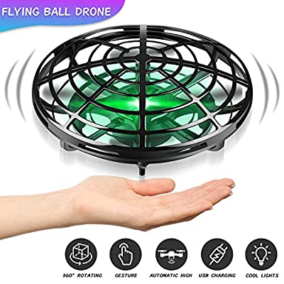 CUKU Hand Operated Drones for Kids or Adult - Interactive Infrared Induction Indoor Helicopter Ball with 360° Rotating and Shinning LED Lights by CUKU