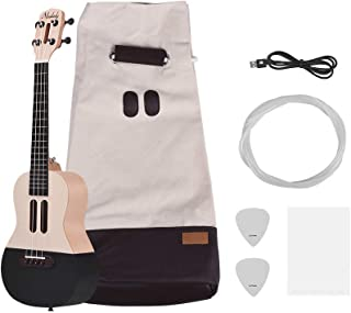 Muslady Populele U1 23 inch Smart Concert Ukulele Uke Kit Supports APP Teaching Bluetooth Connection ABS Fretboard with LED light for Beginners Including Carry Bag Strings Picks USB Charging Cable