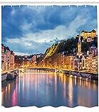 /N Cortina de Ducha Europea Saone River Lyon City Print para baño