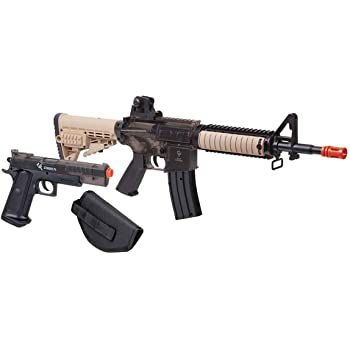 Amazon Com Soft Air Colt Ris Spring Airsoft Rifle And Pistol On Duty Kit Tan Sports Outdoors