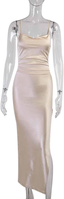 Women's Spaghetti Strap Satin Midi Dress Cowl Neck Backless Silky High Split Evening Party Cocktail Bodycon Dresses