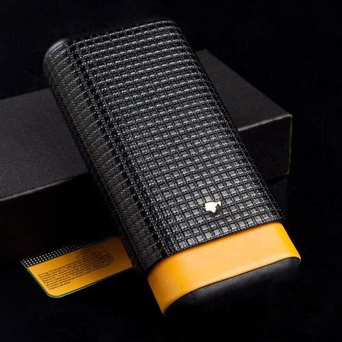 LFL Yellow Black Leather Cedar Wood 3Ct Adjustable Cigar Case Holder Humidor