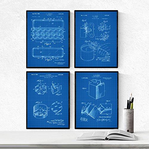 BLAUW - pak van 4 vellen met PATENTEN voedsel. Maak posters met uitvindingen en oude patenten. Kies de gewenste kleur. Gedrukt op hoge kwaliteit 250 gram. Nacnic
