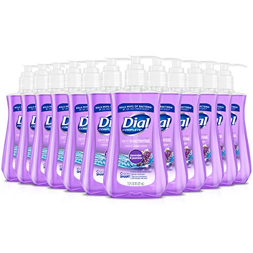 Dial Antibacterial Liquid Hand Soap, Lavender & Twilight & Jasmine, 7.5 Fluid Ounces (Pack of 12)