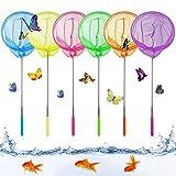 Redes de Mariposa,6 Pack Redes de Pesca para Niños,Pesca de Redes Telescópica,Red Pesca niños,Extensible Redes de Pesca,Telescópicas Red de Mariposas,para Actividades de Jardín al Aire Libre