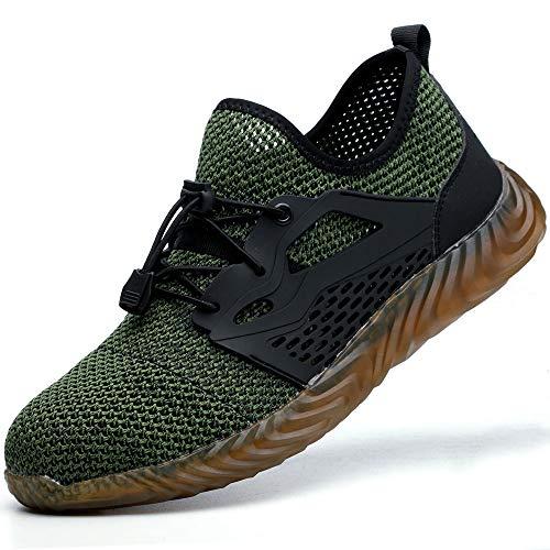 SUADEEX werkschoenen mannen S3 lichtgewicht veiligheidsschoenen vrouwen sportieve stalen pet trainers ademende onverwoestbare schoenen groen Grootte: 10.5 UK