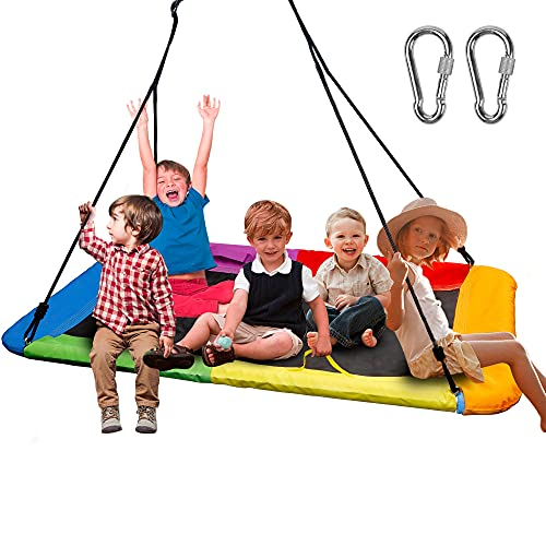 """Juegoal Giant Platform Swing for Kids Adults, Large 32"""" x 60"""" 800 lb Weight Capacity, Children Rope Tree Colorful Rectangle Swing Saucer Durable Steel Frame for Hanging Outdoor, Resistant Waterproof"""