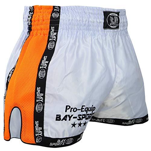 BAY® Pro-Equip Mesh Muay Thai Short (weiß/Neonorange, S)