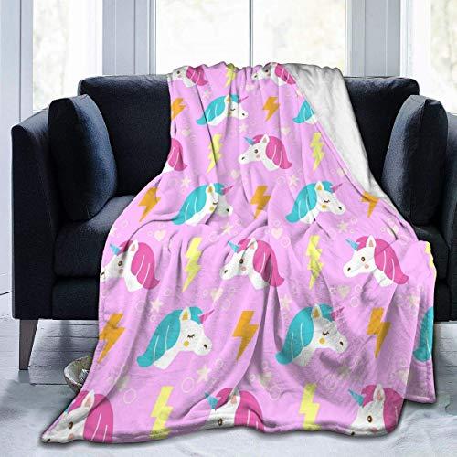iui Rosa Einhorn Lightning Flanelldecke super weich und bequem Bettdecke geeignet für Sofa Mikrofaser
