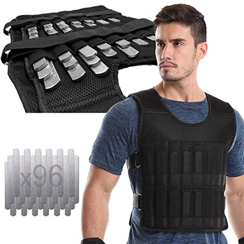 LEKÄRO Adjustable Weighted Vest 44LB Fitness Weight Training Workout Boxing Jacket (Including Weight: 96 Plated Steel Plates