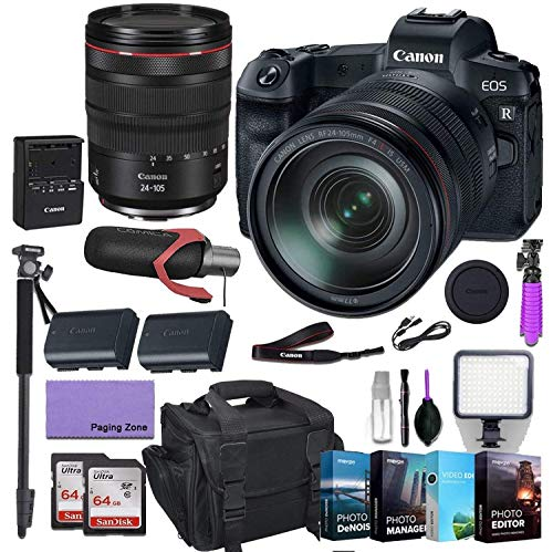 Find Discount Canon EOS R Mirrorless Digital Camera with 24-105mm f/4L is USM Lens with Deluxe Accessories (Pro Microphone, 4-Pack Photo Editing Software and More.) (Renewed)
