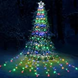 Toodour Christmas Lights, 317 LED 10ft X 9 Outdoor Christmas Decorations Lights with 12' Topper Star, 8 Lighting Modes Outside Christmas Tree Lights (Multicolor)