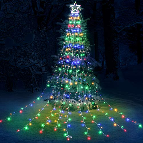 Toodour Christmas Lights, 317LED 10ft X 9 Outdoor Christmas Decorations Lights with 12' Topper Star, 8 Lighting Modes Outside Christmas Tree Lights (Multicolor)