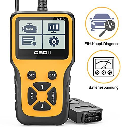 Beefix OBD2 Diagnosegerät,Auto OBD Adapter Scan Werkzeug,Automotor Fehler-Code Scanner für Europäische OBD II Protokolle nach 2000,EIN-Knopf-Diagnose,Überprüfen Sie die Batteriespannung,Echtzeitkurve