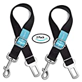 Dog Seat Belt Pet Dog Cat Car Seatbelt Safety Tether - 2 Pack - Adjustable Harness Belts Pet Leash - Heavy Duty Nylon Seatbelts - Universal Fit Cars Truck SUV