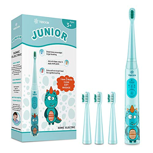 Vekkia Dragon Lord Sonic Rechargeable Kids Electric Toothbrush, 3 Modes With Memory, Fun & Easy Cleaning, 31000 Strokes, IPX7 Waterproof,...