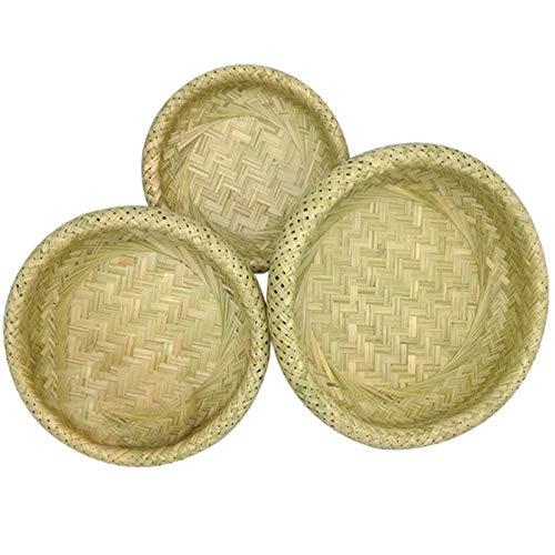 Nrpfell Cesta de Bambú Hueca de Doble Capa Cesta de Pan Cesta de Almacenamiento de Bambú Cesta Tejida Cesta de Frutas