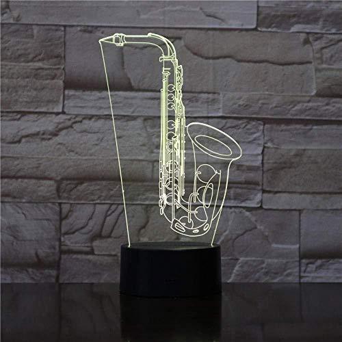 Luz Deslizante 3D Luz De Noche Led Saxofón Instrumento Musical Música Degradado Multicolor Usb Táctil Niños Bebé Dormir Regalo