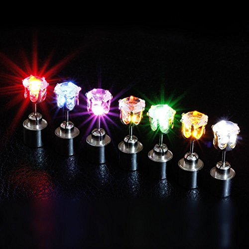 2win2buy 9 Pares Zarcillos Cúbicos Pendientes Luz LED Decoración Navidad Fiesta de Baile Club Hombre Mujer