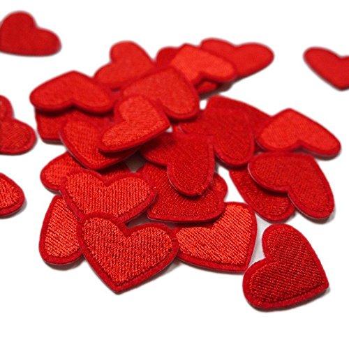 Yalulu 20 Stück Mini Patch Aufbügler Aufbügelflicken Applikation Herz zum Flicken Aufnäher Hüte Jeans Dekorieren (Rot)