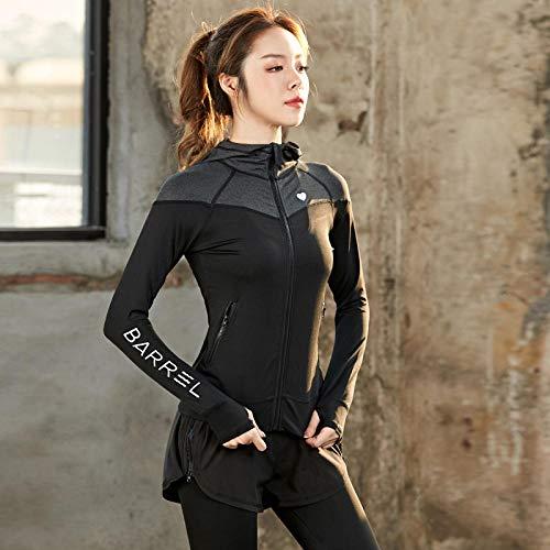 Rrui Sportkleding voor dames, herfst- en winterjas, lange mouwen, sport-yoga-kleding, nieuwe fitness-T-shirt, stretch-yoga-kleding, T lycra, helder poeder, maat L