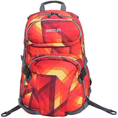 """Bestlife Mochila unisex """"MERX"""" mochila escolar, para el tiempo libre con compartimento para el portátil hasta 15,6 pulgadas (39,6 cm), rojo/naranja"""