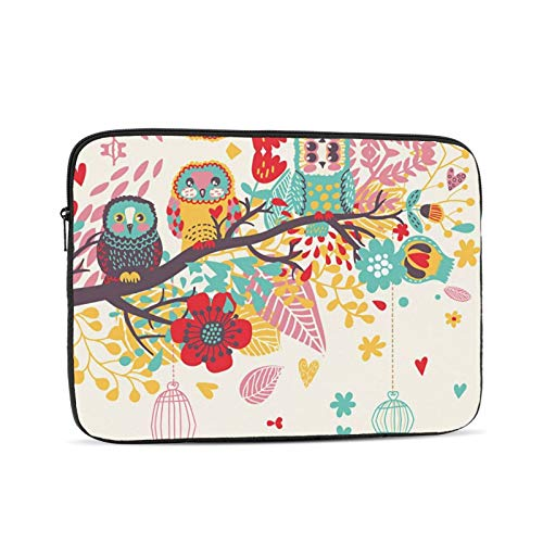 KXT Colorful Owls Tree Flower Laptop Sleeve,Carrying Bag Chromebook Case Notebook Bag Tablet Cover