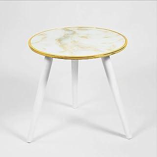 Kays Table d'appoint Table de Chevet Bout de canapé Table Basse Ronde avec extérieur en marbre - Chevet/Couloir/Salon Cana...