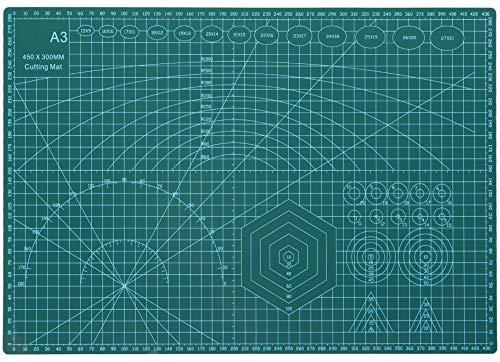 Rocoo カッターマット A1 A2 A3 A4 A5 カッティングマット 5層シート構造 両面印刷 傷自動癒合機能 3mm厚さ グリーン プラモデル用工具 下敷き デスクトップ保護 (グリーン, A3 (縦450×横300×厚さ3mm))