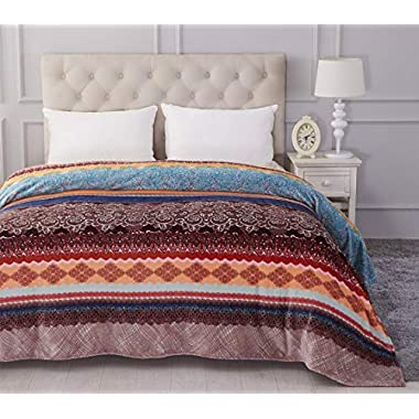 Jml Luxury Flannel Fleece Blanket - Printed Warm Fuzzy Ultra Plush Lightweight Couch Bed Blanket All Season Full/Queen Size
