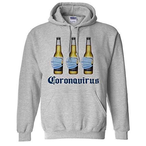 Beer Mask Virus Funny Beer Drinking Hoodie Sweatshirt Unisex 2X-Large Grey