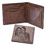 Billetera De Cuero Personalizada para Hombres Billeteras Portátiles para Hombres Regalo Personalizado De Cumpleaños para Padres(Marrón Claro Doble Cara)