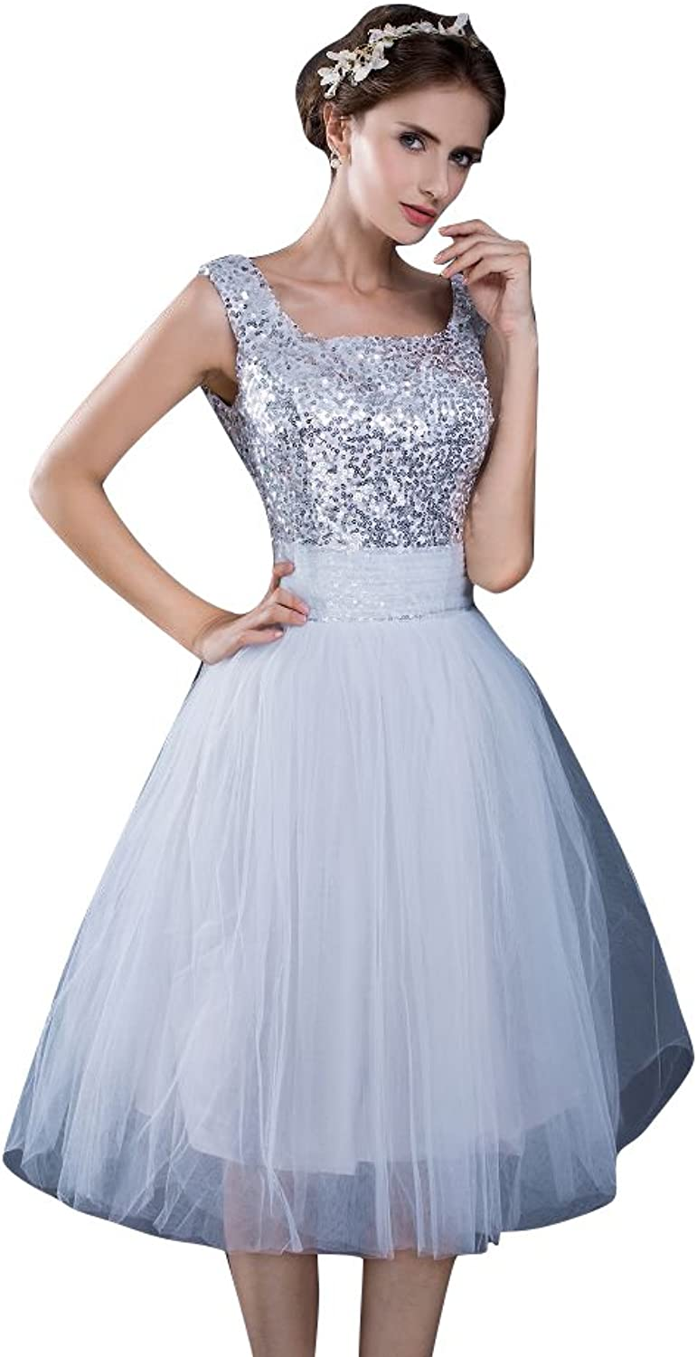 BeautyEmily Tulle Sequin Square Neck Short Party Dress