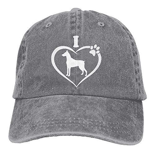 NOBRAND Secado Rápido Dad Hat,Cómoda Sombrero De Deporte,Transpirable Ocio Sombrero,Hombres Mujeres Amo Mi Gorra De Béisbol Doberman-1 Vintage Jeans