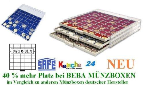 SAFE MÜNZBOXEN BEBA - MB6107B - 49 x 38,7 MM FÄCHER GRATIS mit blauen Filzeinlagen - für Münzen bis 38,7 mm und Münzkapseln bis Caps 32,5 mm - Ideal 5 - 10 EURO / DM / MARK DDR IN CAPS & Wiener Philharmoniker & Meaple Leaf