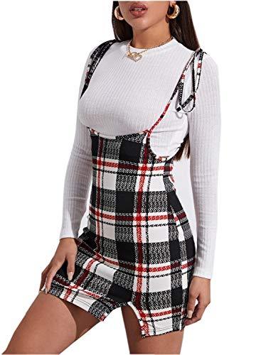Falda Ajustada a Cuadros para Mujer Mini Falda con Tirantes Vestido Corto Elegante con Peto Falda Corta de Cintura Alta Bodycon Ropa Primavera Otoño para Diario Fiesta Oficina (Rojo, M)