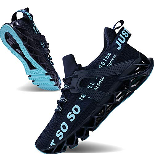 JSLEAP Mens Athletic Walking Shoes Casual Best Slip Running Sneakers Outdoor Sport Shoes, 1dark Blue, 8.5