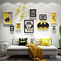 子供部屋の漫画の装飾写真の壁、DIYミックスアンドマッチ8ギャラリーフォトフレーム3種類のアクセサリー、壁の額縁ギャラリーフォトフレーム-黒+白