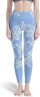Women Tight High Waist Yoga Leggings Blue Mandela Workout Gym Running Pants Non See-Through Fabric