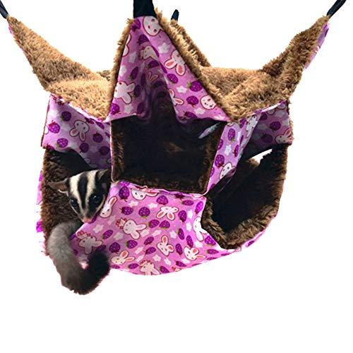 Small Pet Cage Hängematte, Sugar Glider Triple Bed Hängematte Rat Bed Meerschweinchenkäfig Zubehör Bettwäsche Frettchen Tunnel Cave Kleintierbett für Chinchilla Hamster