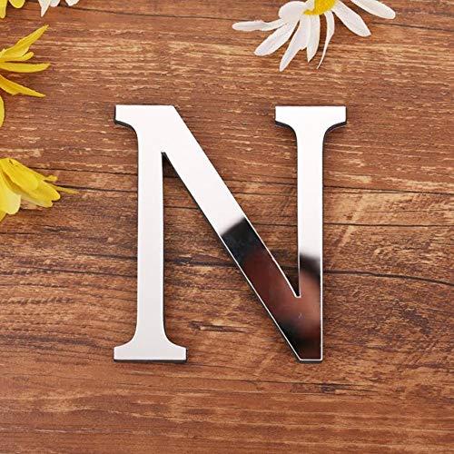 Spiegel Buchstaben Wandaufkleber, 3D DIY Kreativ Acryl 26 Alphabet Buchstaben abnehmbare Wandsticker Decals Für Wohnzimmer Schlafzimmer Wohnkultur (N)
