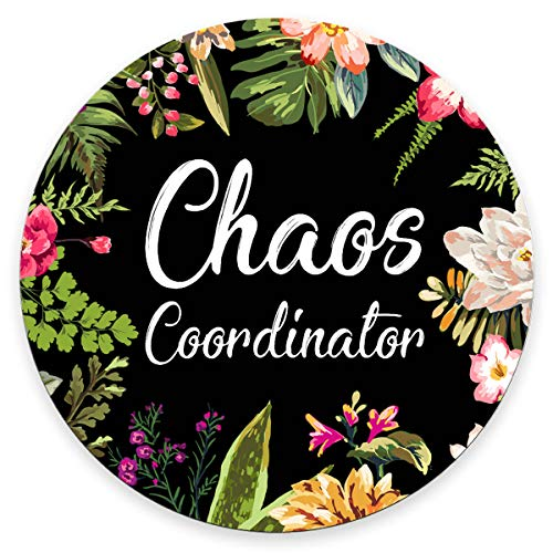 Amcove Funny Quote Gaming Round Mouse Pad Custom, Chaos Coordinator Quotes Vintage Colored Floral Wreath Print Black Mouse Pads