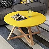 Mesa de café redonda corta de madera Mesa de la mesa de la mesa de la sala de estar Mesas de anidación con X Base Ocio de madera Mesa de madera Mesa de acento Sofá Mesa for el hogar Muebles de mesa De