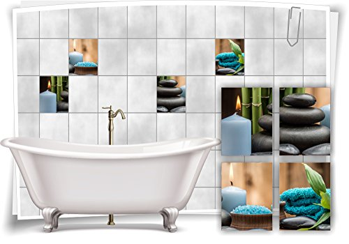 Medianlux tegelsticker, tegelafbeelding, Zen, stenen kaars, petrol, wellness, SPA sticker, sticker, decoratie, badkamertoilet
