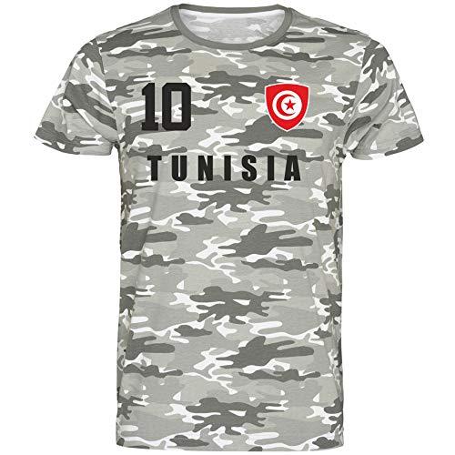 Nation Tunesien T-Shirt Camouflage Trikot Style Nummer 10 Army (XXL)