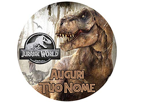 Partycolare Cialda Personalizzabile Tonda 20,5 cm Dinosauro Jurassic World - dino007
