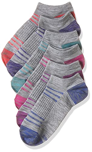 Hanes Women's Performance Cool Compression No Show Socks 6 Pair Pack, Grey/Purple/Pink Design, Shoe Size: 5-9