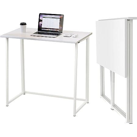 Dripex Table de Bureau Pliante Bureau Informatique Pliable Petit Table d'Ordinateur pour Bureau Domicile 80 x 45 x 74 cm - Blanc